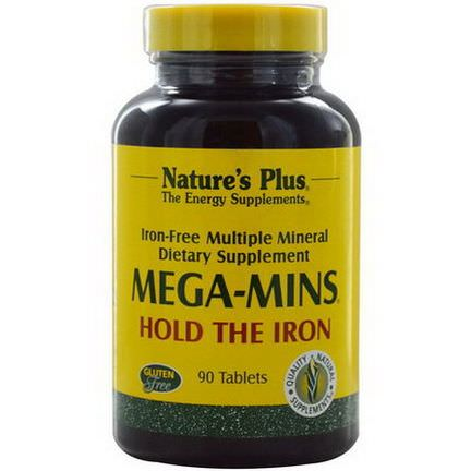 Nature's Plus, Mega-Mins, Iron Free Multiple Mineral, 90 Tablets