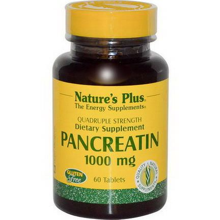 Nature's Plus, Pancreatin, 1000mg, 60 Tablets