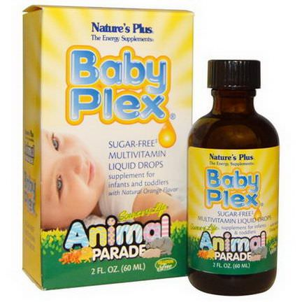 Nature's Plus, Source of Life, Animal Parade, Baby Plex, Sugar Free Multivitamin Liquid Drops, Natural Orange Flavor 60ml