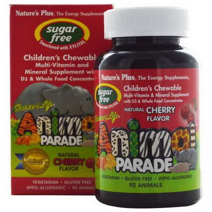 Nature's Plus, Source of Life, Animal Parade, Children's Chewable, Multi-Vitamin and Mineral Supplement, Sugar Free, Natural Cherry Flavor, 90 Animals