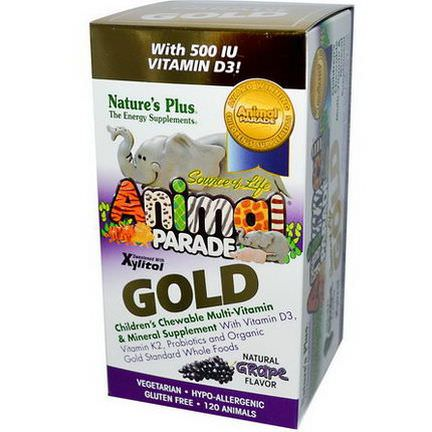 Nature's Plus, Source of Life Animal Parade, Gold, Children's Chewable Multi-Vitamin&Mineral Supplement, Natural Grape Flavor, 120 Animals