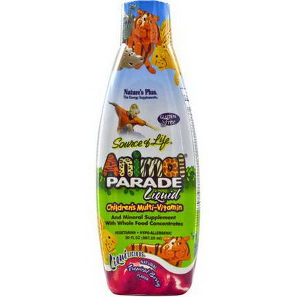 Nature's Plus, Source of Life, Animal Parade Liquid, Children's Multi-Vitamin, Natural Tropical Berry Flavor 887.10ml