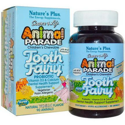 Nature's Plus, Source of Life, Animal Parade, Tooth Fairy, Children's Chewable, Natural Vanilla Flavor, 90 Animals