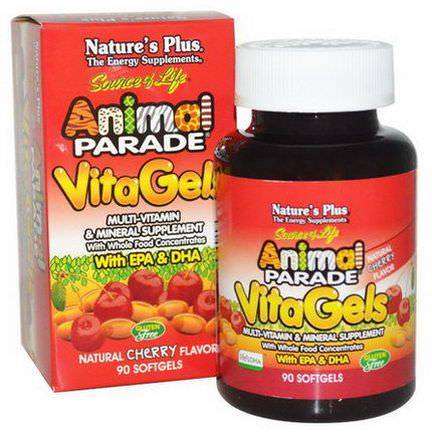 Nature's Plus, Source of Life, Animal Parade, VitaGels, Multi-Vitamin&Mineral Supplement, Natural Cherry Flavor, 90 Softgels