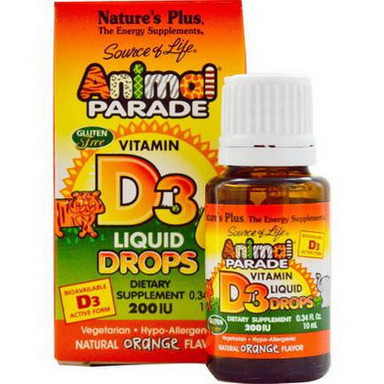Nature's Plus, Source of Life, Animal Parade, Vitamin D3, Liquid Drops, Natural Orange Flavor, 200 IU 10ml
