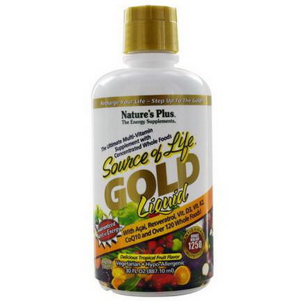Nature's Plus, Source of Life, Gold Liquid, Delicious Tropical Fruit Flavor 887.10ml