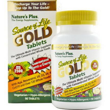 Nature's Plus, Source of Life Gold, The Ultimate Multi-Vitamin Supplement, 90 Tablets