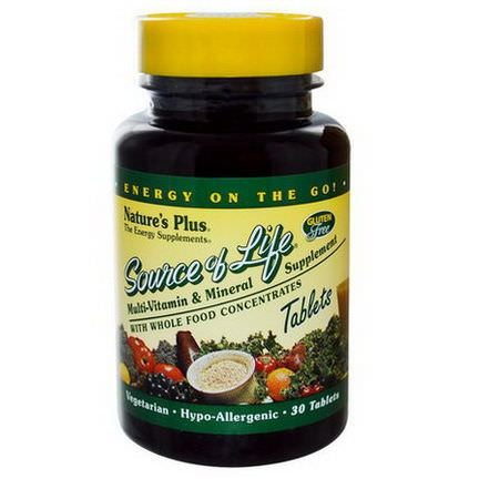 Nature's Plus, Source of Life, Multi-Vitamin&Mineral Supplement, 30 Tablets