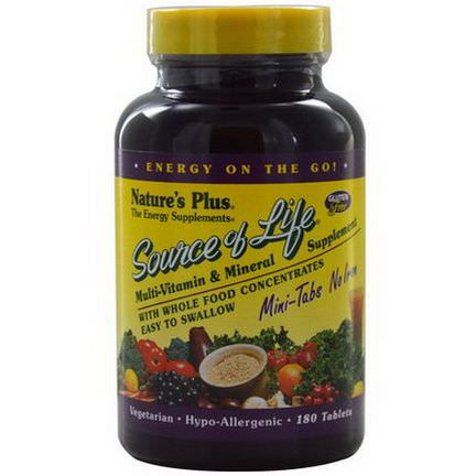 Nature's Plus, Source of Life, Multi-Vitamin&Mineral Supplement, No Iron, 180 Tablets