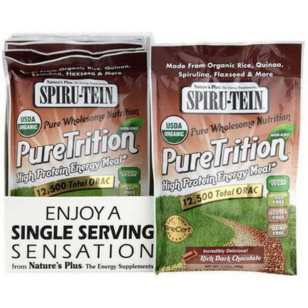 Nature's Plus, Spiru-Tein, PureTrition, High Protein Energy Meal, Rich Dark Chocolate, 8 Packets 40g