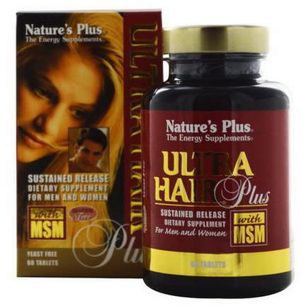 Nature's Plus, Ultra Hair Plus with MSM, For Men and Women, 60 Tablets