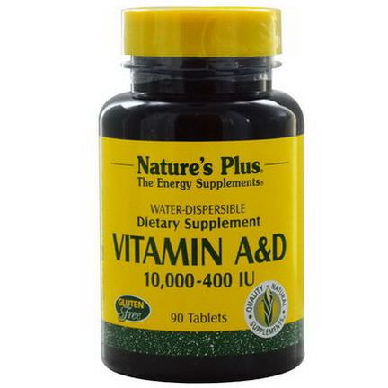 Nature's Plus, Vitamin A&D, 10,000, 400 IU, 90 Tablets