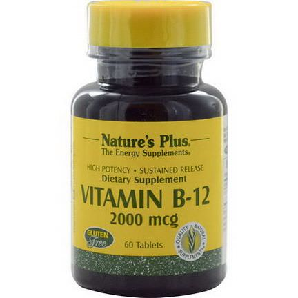 Nature's Plus, Vitamin B-12, 2000mcg, 60 Tablets