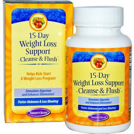 Nature's Secret, 15-Day Weight Loss Support, Cleanse&Flush, 60 Tablets