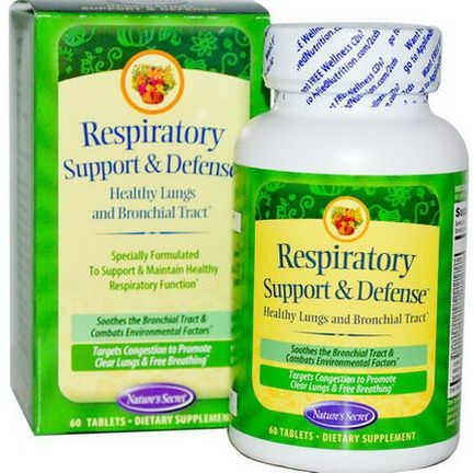 Nature's Secret, Respiratory Support&Defense, 60 Tablets
