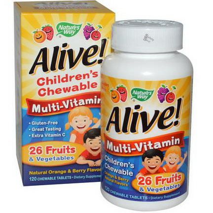 Nature's Way, Alive! Children's Chewable Multi-Vitamin, Orange, Berry, 120 Chewable Tablets