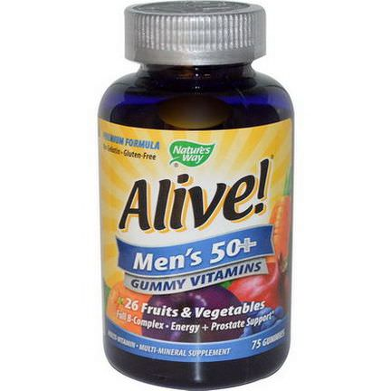 Nature's Way, Alive! Men's 50+ Multi-Vitamin Multi-Mineral, 75 Gummies