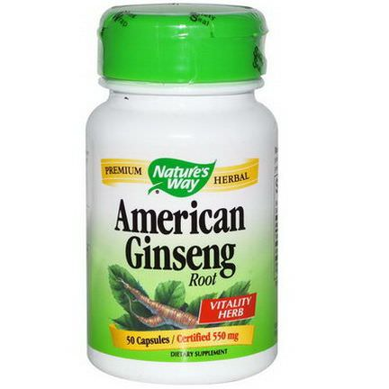 Nature's Way, American Ginseng Root, 550mg, 50 Capsules