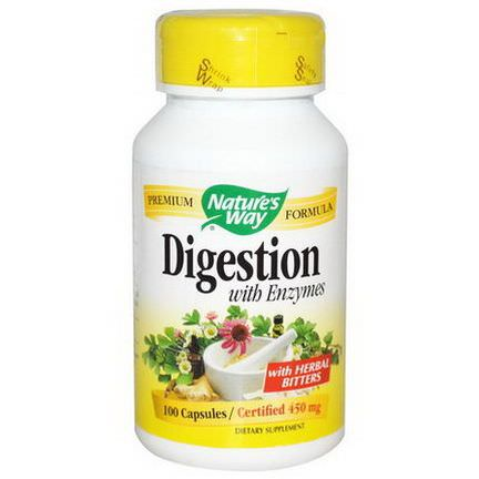 Nature's Way, Digestion, with Enzymes, 450mg, 100 Capsules