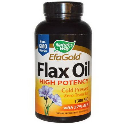 Nature's Way, EFA Gold, Flax Oil, High Potency, 1300mg, 200 Softgels