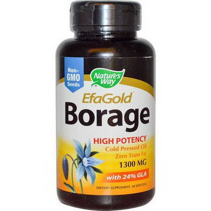 Nature's Way, EFAGold, Borage, 1300mg, 60 Softgels