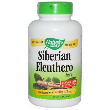 Nature's Way, Siberian Eleuthero, Root, 425mg, 180 Capsules