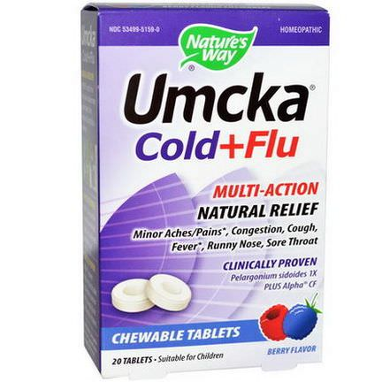 Nature's Way, Umcka, Cold Flu, Berry Flavor, 20 Chewable Tablets