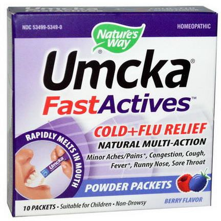 Nature's Way, Umcka, Fast Actives, Cold Flu Relief, Berry Flavor, Non-Drowsy, 10 Powder Packets