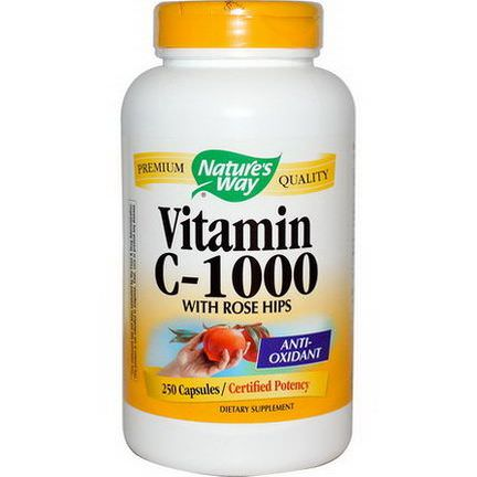 Nature's Way, Vitamin C-1000, With Rose Hips, 250 Capsules