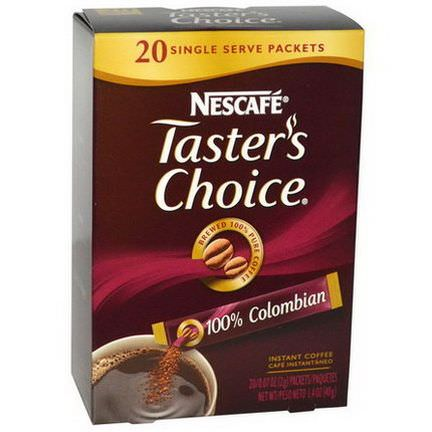 Nescafe, Taster's Choice, Instant Coffee, 100% Colombian, 20 Packets 2g Each