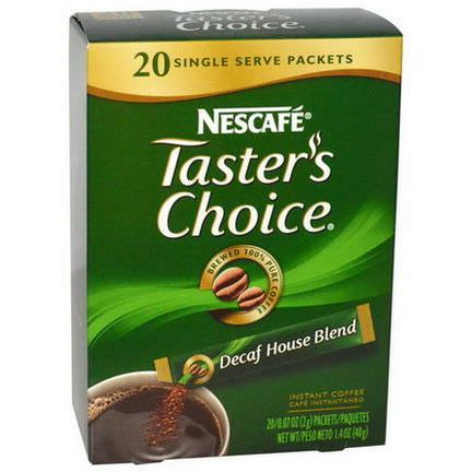 Nescafe, Taster's Choice Instant Coffee, Decaf House Blend, 20 Packets 2g Each