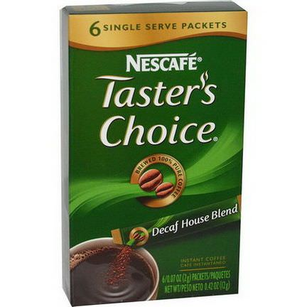 Nescafe, Taster's Choice, Instant Coffee, Decaf House Blend, 6 Packets 2g Each