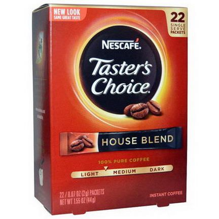 Nescafe, Taster's Choice, Instant Coffee, House Blend, 22 Packets 2g Each