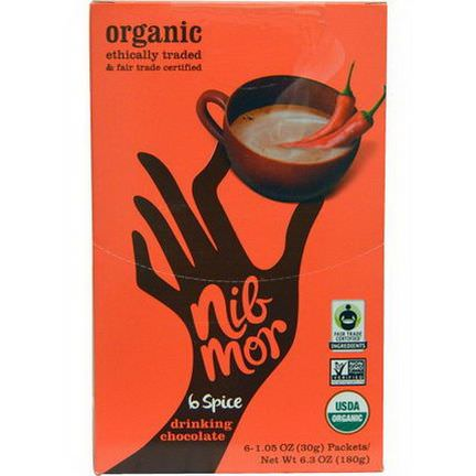 Nibmor, Organic, Drinking Chocolate, 6 Spice, 6 Packets 30g Each