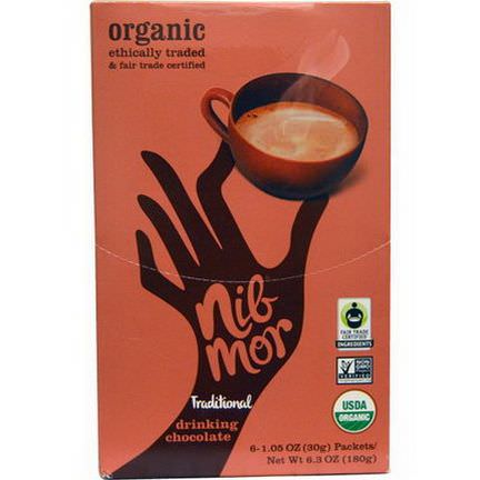 Nibmor, Organic, Drinking Chocolate, Traditional, 6 Packets 30g Each