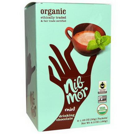 Nibmor, Organic, Mint Drinking Chocolate, 6 Packets 30g Each