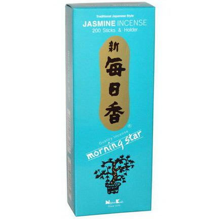 Nippon Kodo, Morning Star, Jasmine Incense, 200 Sticks&Holder