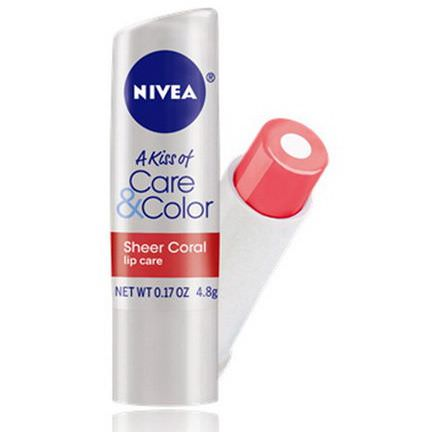 Nivea, A Kiss of Care&Color, Lip Care, Sheer Coral 4.8g