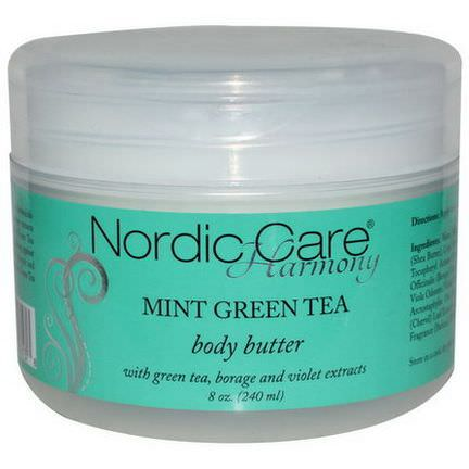 Nordic Care, LLC. Harmony, Body Butter, Mint Green Tea 240ml