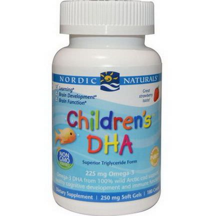 Nordic Naturals, Children's DHA, Strawberry, 250mg, 180 Soft Gels