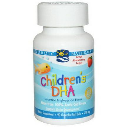 Nordic Naturals, Children's DHA, Strawberry, 250mg, 90 Chewable Soft Gels