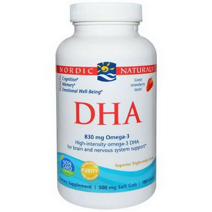 Nordic Naturals, DHA, Strawberry, 500mg, 180 Soft Gels
