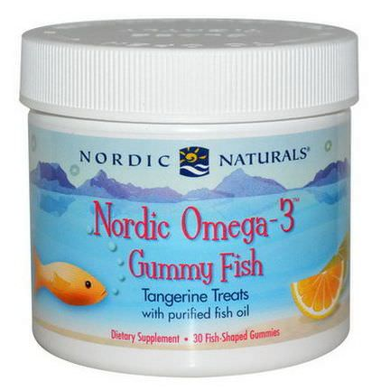 Nordic Naturals, Nordic Omega-3 Gummy Fish, Tangerine Treats, 30 Fish-Shaped Gummies