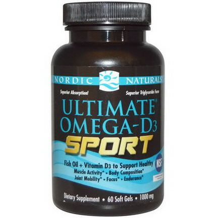 Nordic Naturals, Ultimate Omega-D3 Sport, 1000mg, 60 Soft Gels