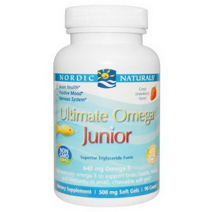 Nordic Naturals, Ultimate Omega, Junior, 500mg, 90 Chewable Soft Gels
