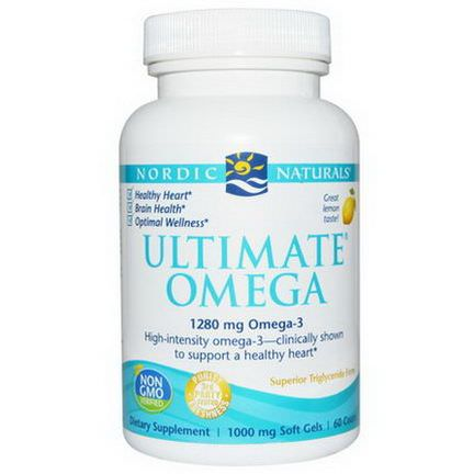 Nordic Naturals, Ultimate Omega, Lemon, 1000mg, 60 Soft Gels