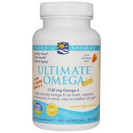 Nordic Naturals, Ultimate Omega Mini, Strawberry, 650mg, 60 Count