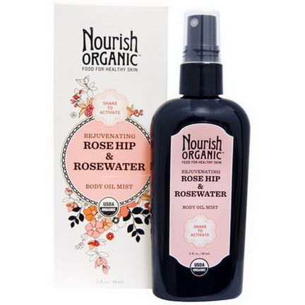 Nourish Organic, Rejuvenating Rose Hip&RoseWater Body Oil Mist 88ml