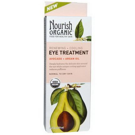 Nourish Organic, Renewing Cooling Eye Treatment, Avocado Argan Oil 15ml