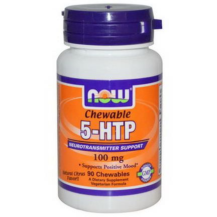 Now Foods, 5-HTP, Chewable, Natural Citrus Flavor, 100mg, 90 Chewables